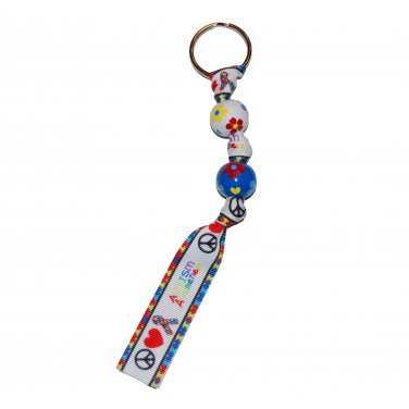 *New*- Hand-painted Autism Awareness Lots of Flowers Grosgrain Ribbon Keychain