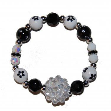 "Handpainted Flowers ""Clear Sparkle"" Black & White Adult Stretch Bracelet"