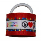 Bright and Bold Red Peace Love Autism Awareness Hair Cuffs