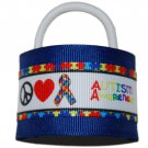Bright and Bold Blue Peace Love Autism Awareness Hair Cuffs