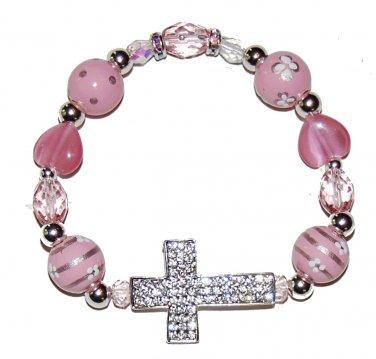 Hand-Painted Sideways Cross Pink Flowers Stretch Bracelet