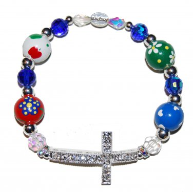 Hand-Painted Sideways Cross Teacher Appreciation Stretch Bracelet