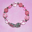 Hand-Painted Sideways Pink Cancer Awareness rhinestone ribbon  Stretch Bracelet