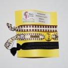 Handpainted Team Foldover Elastic FOE Hair Tie Bracelets - Set of 3