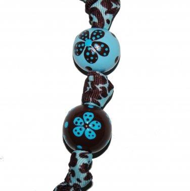 Handpainted Brown &  Blue Flower Grosgrain Ribbon Keychain