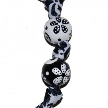 Handpainted Black & White Flower Grosgrain Ribbon Keychain