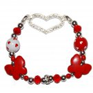 Hand-Painted My Heart Flutters for You Butterfly Love Stretch Bracelet