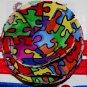 Autism Awareness Handmade Flower Foe Elastic Headband & Matching Hair Tie