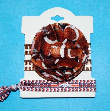 Football Team Handmade Flower Foe Elastic Headband & Matching Hair Tie