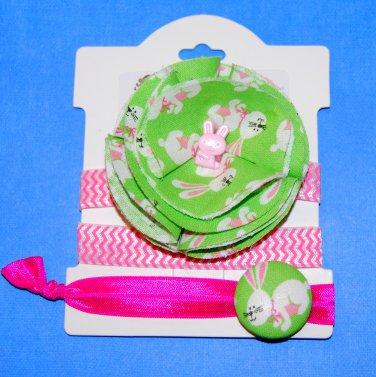 Easter Bunny Handmade Flower Foe Elastic Headband & Matching Hair Tie