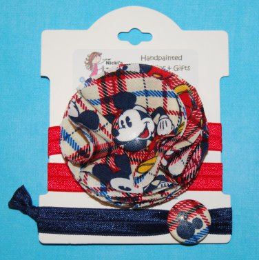 All About the Mouse Character Plaid Handmade Flower Foe Elastic Headband & Matching Hair Tie