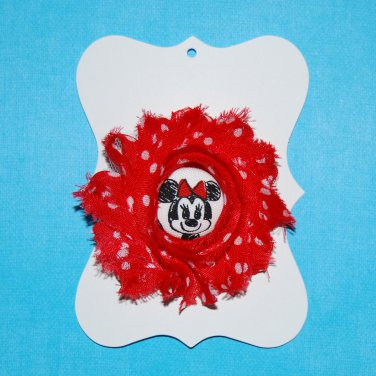 All About the Mouse Character Shabby Flower Foe Elastic Headband & Matching Hair Tie