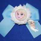 Handpainted Elsa Character grosgrain Ribbon Large Bow Hair Clip