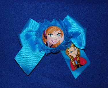 Handpainted Anna Character Grosgrain Ribbon Large Bow Hair Clip