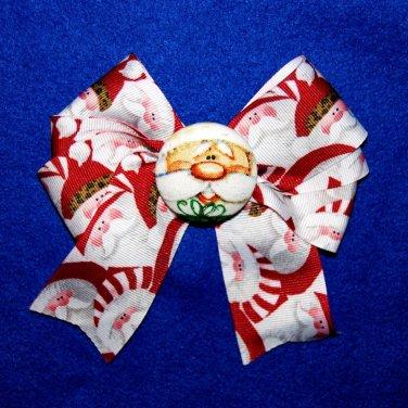 Christmas Santa Claus Red Green Grosgrain Ribbon Fabric Button Hair Bow Clip