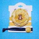 Handmade Fabric Flower Teddy Bear Foe Elastic Headband and Matching Hair tie