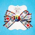 Autism Puzzle Piece Peace Love Grosgrain Ribbon Fabric Button Hair Bow Clip