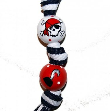 Handpainted Ahoy! Pirates and Hidden Treasure Grosgrain Ribbon Keychain