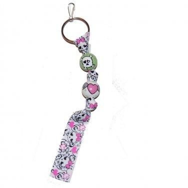 Handpainted Pink Heart and Skulls Grosgrain Ribbon Keychain