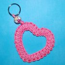 Handpainted Breast Cancer Angel Paracord Awareness Heart Keychain