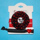 Handmade Fabric Flower Mickey Foe Elastic Headband and Matching Hair tie