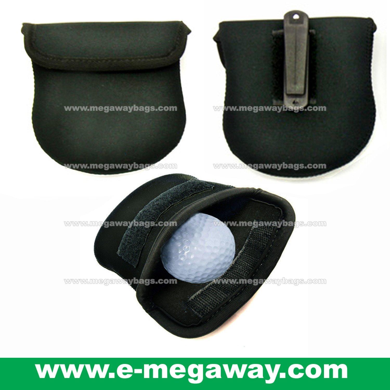 Golf Ball Cleaning Pouch Bag Metal Clip Neoprene Black Sports Gear MegawayBags #CC- 0848