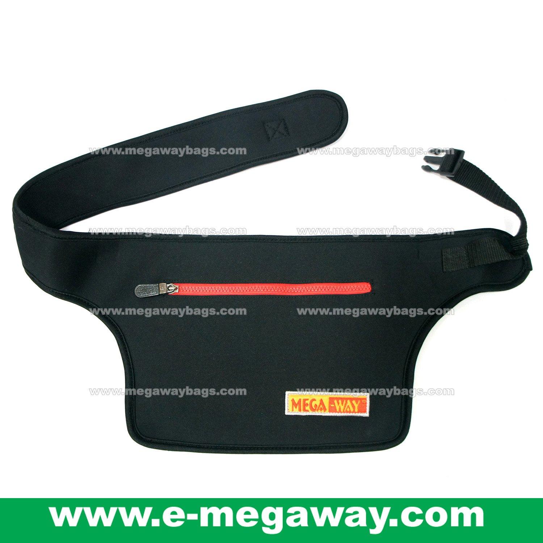 Megaway Black Travel Waist Bag (Adjustable Belt) Purse Pouch Wallet Neoprene MegawayBags #CC-0877
