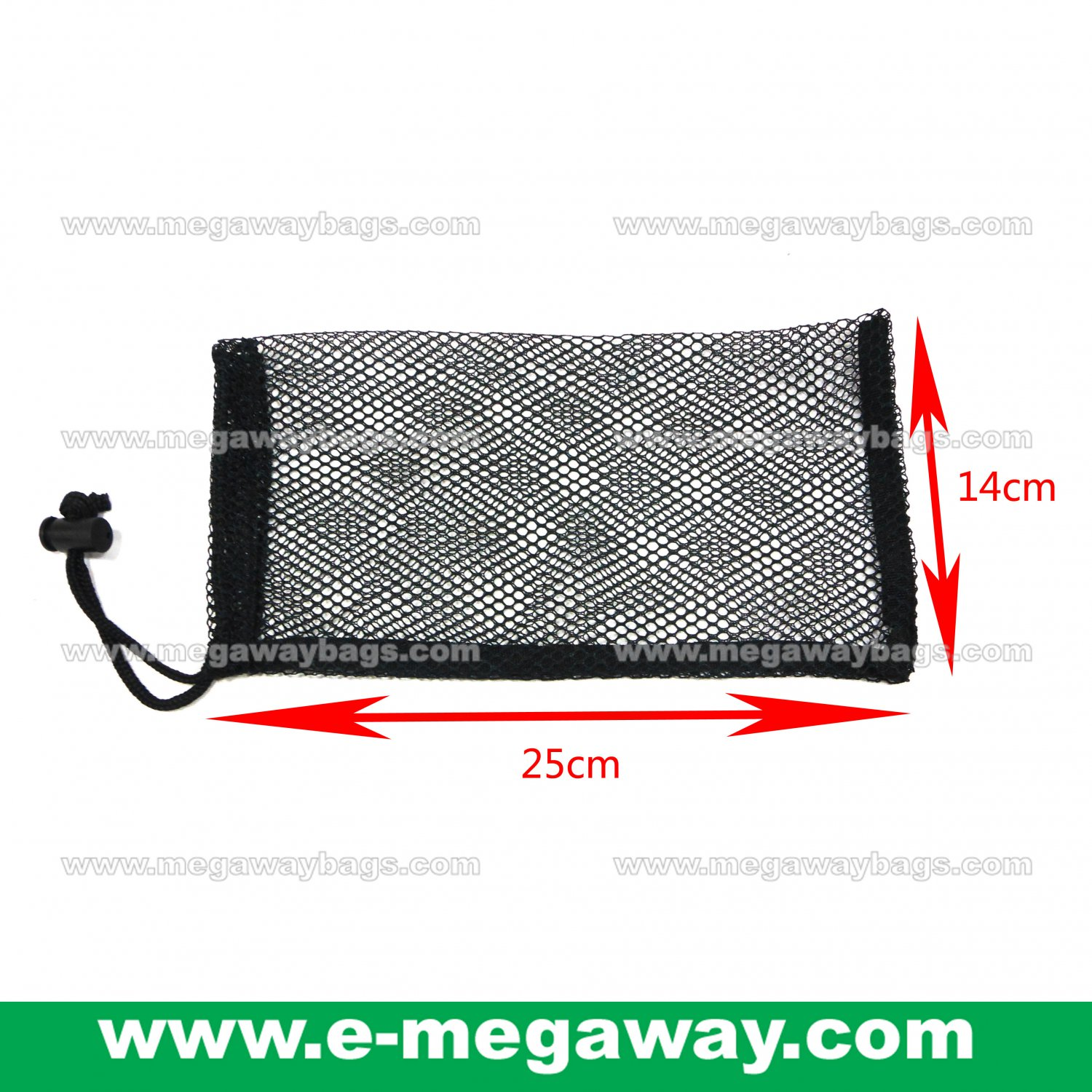 Black Mesh Draw Sting Stopper Pack Package Reusable Gift Shop Bags MegawayBags #CC-0939