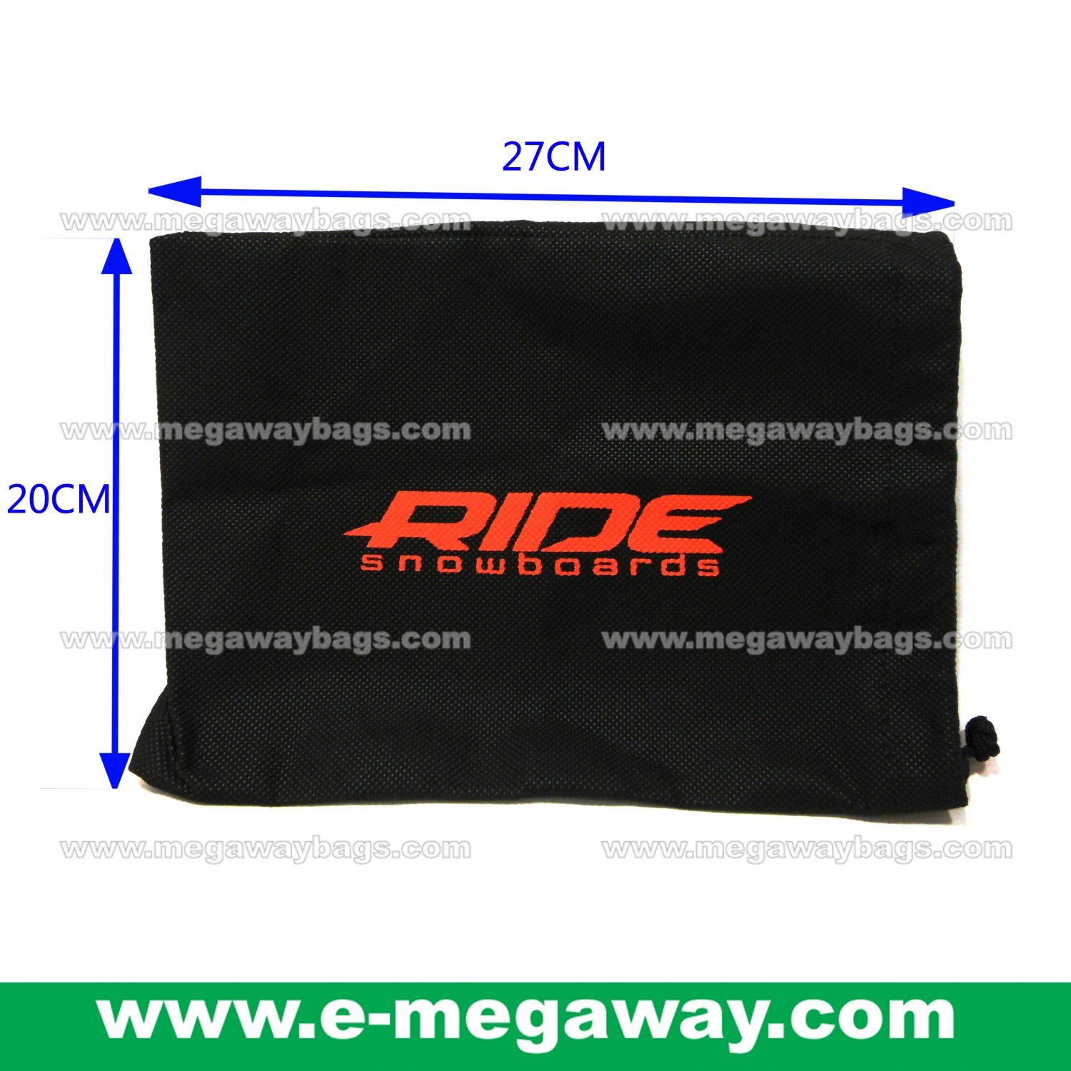 Black Non Woven Draw Sting Pack Package Reusable Gifts Shop Bags MegawayBags #CC-0970