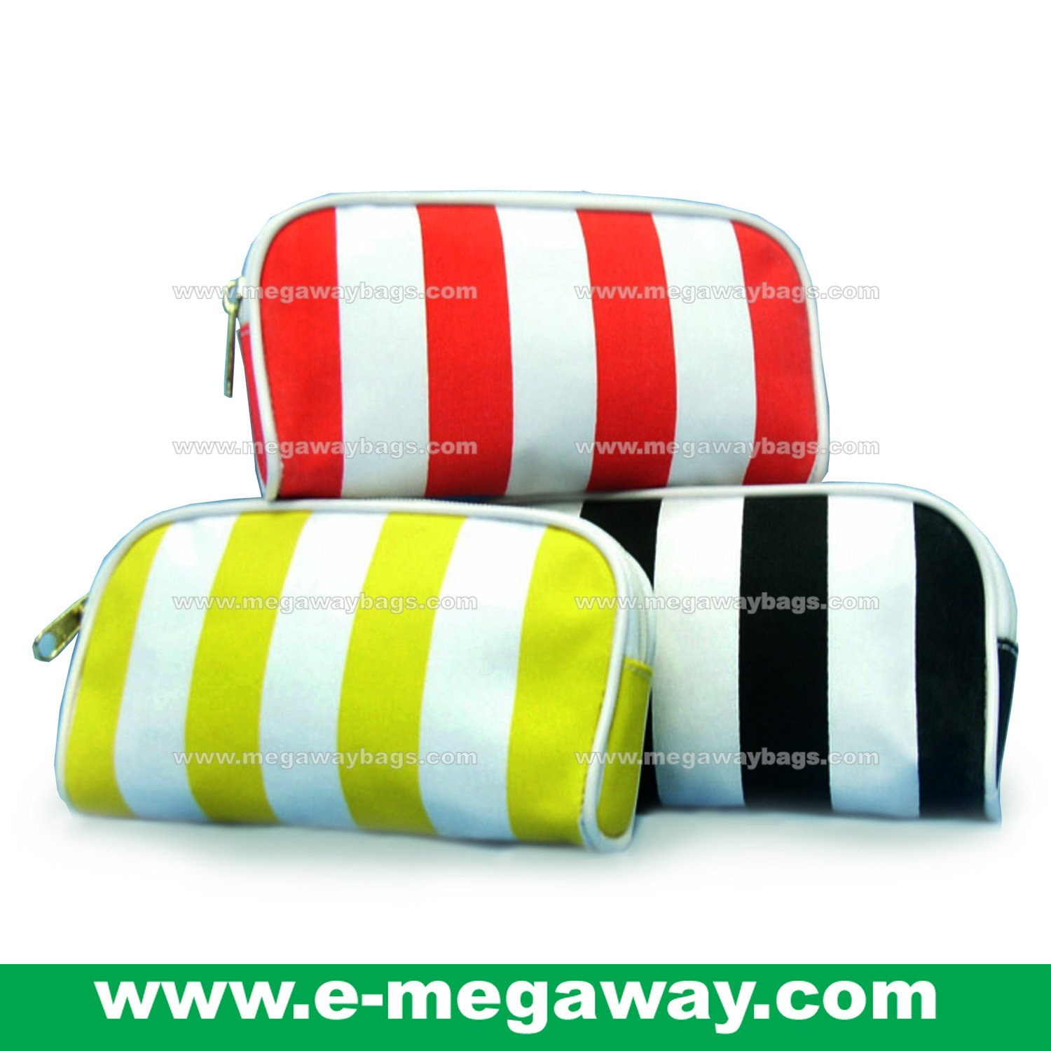Beauty Amenity Cosmetics Bags Case Sac Pouch Wallets Stripe Printed MegawayBags #CC-0837
