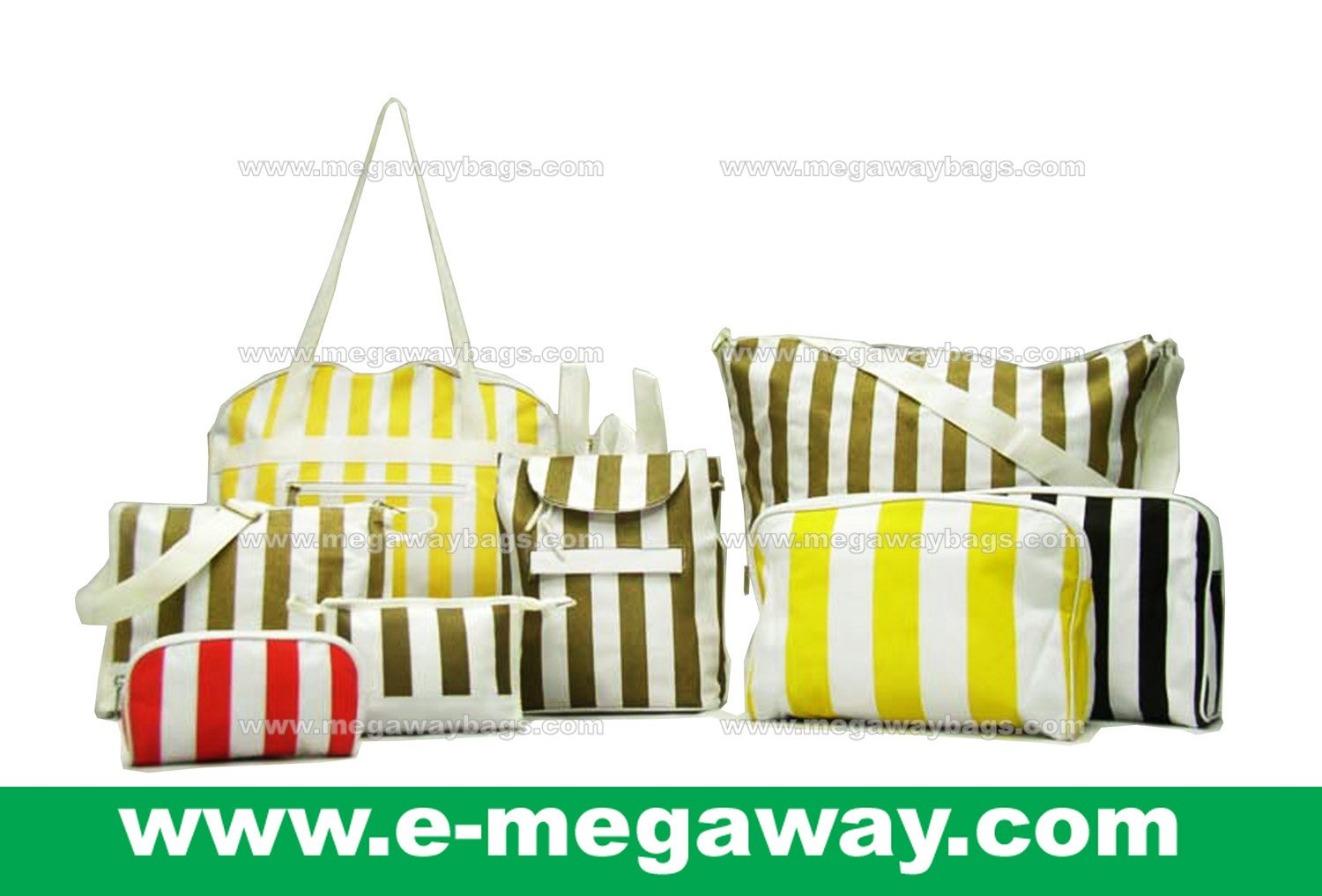 Beauty Amenity Cosmetics Bags Case Sac Pouch Wallets Stripe Printed MegawayBags #CC-0843