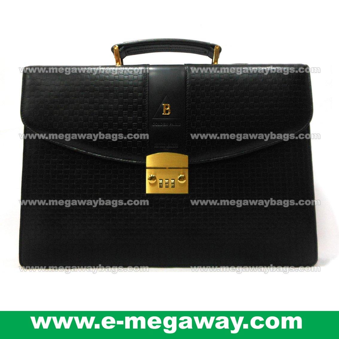 Executive Leather Briefcase Binders Key Lock Portfolios Case Organizer MegawayBags #CC-0941