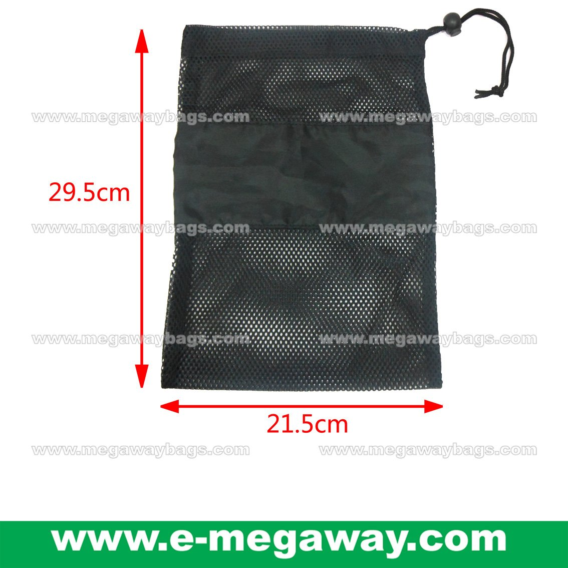 Black Mesh Bag Draw Sting Pouch Stopper Garment travel Packaging Pack MegawayBags #CC-0939A2