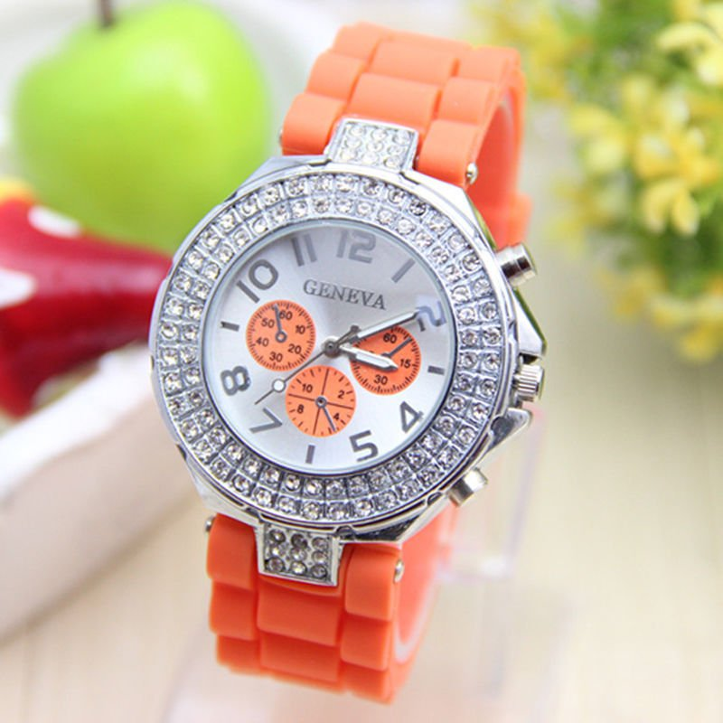 GENEVA WATCH ORANGE W/CRYSTAL RUBBER SILICONE BAND