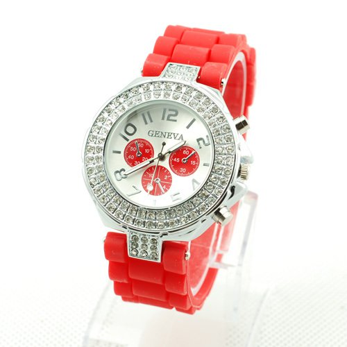 GENEVA WATCH RED W/CRYSTAL RUBBER SILICONE BAND