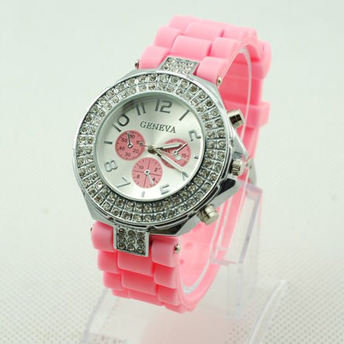 GENEVA WATCH PINK W/CRYSTAL RUBBER SILICONE BAND