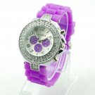 GENEVA WATCH PURPLE W/CRYSTAL RUBBER SILICONE BAND