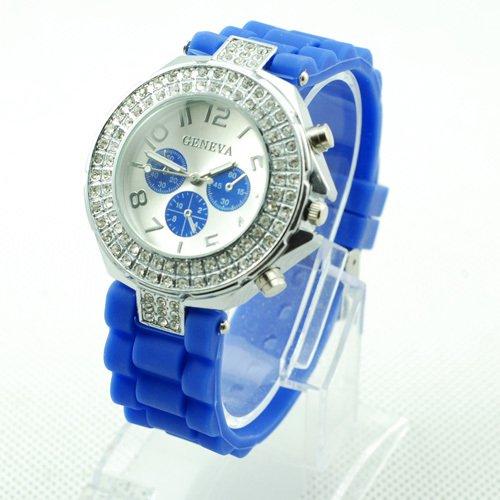 GENEVA WATCH BLUE W/CRYSTAL RUBBER SILICONE BAND