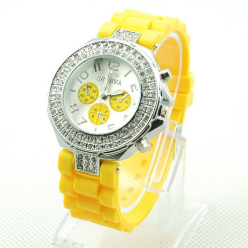 GENEVA WATCH YELLOW W/CRYSTAL RUBBER SILICONE BAND