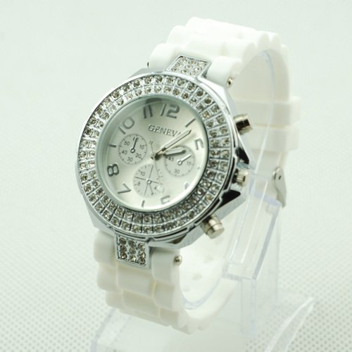 GENEVA WATCH WHITE W/CRYSTAL RUBBER SILICONE BAND