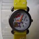 Hello Kitty 3 dimensional wrist children watch with yellow rubber band