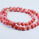 Genuine coral stone beaded necklace 14k gold clasp . ! Gift Jewelry & Love