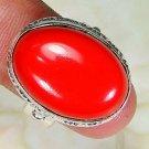 Fashion retro design silver & red coral stone ring size 8 ! Gift Jewelry & Love