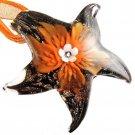 Flower Sea Star Art Murano Glass Pendant Ribbon Necklace ! Gift Jewelry & Love