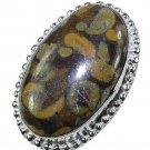 Fashion retro silver & autumn Jasper gemstone ring size 7 ! Gift Jewelry & Love