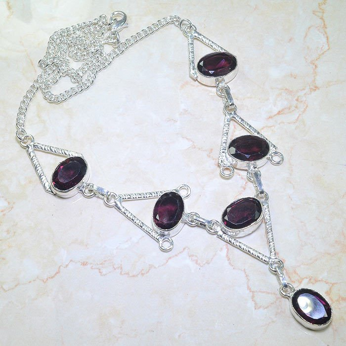 """Fashion 19"""" Silver necklace set Amethyst stone beads ! Gift Jewelry & Love"""