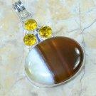 Fashion Agate + Citrine gemstone silver pendant + necklace ! Gift Jewelry & Love