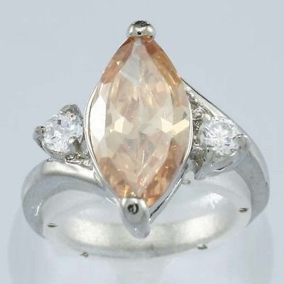 Fashion pretty 18K gold plated ring - champagne zircon ! Gift Jewelry & Love