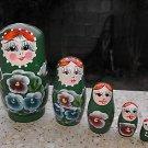 5 vintage russian babushka matryoshka dolls