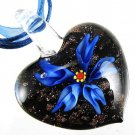 Heart Flower Handmade Art Glass Pendant Ribbon Necklace ! Gift Jewelry & Love